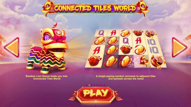 Lion Dance :: Connected Tiles World - A single paying symbol connects to adjacent tiles and spreads across the reels.