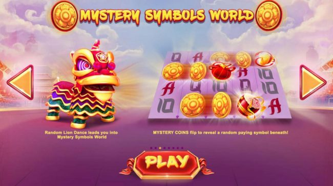 Lion Dance :: Mystery Symbols World - Mystery Coins flip to reveal a random paying symbol beneath.
