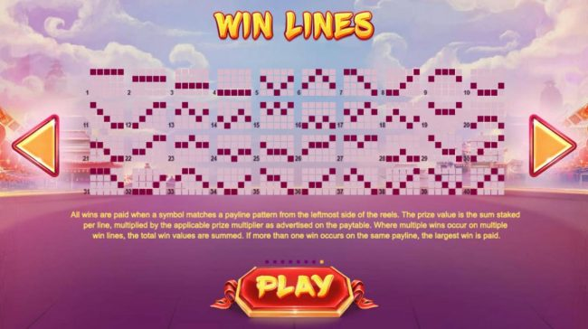 Lion Dance :: Payline Diagrams 1-40. All wins are paid when a symbol matches a payline pattern from the leftmost side of the reels. The prize value is the sum staked per line, multiplied by the applicable prize multiplier as advertised on the paytable.