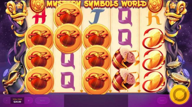 Lion Dance :: Mystery Symbols World reveals red lantern symbols triggering multiple winning paylines.