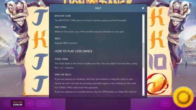 Lion Dance :: Special Symbols and Features Rules - Continued