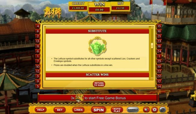 Rose Slots featuring the Video Slots Lion dance with a maximum payout of $32,000