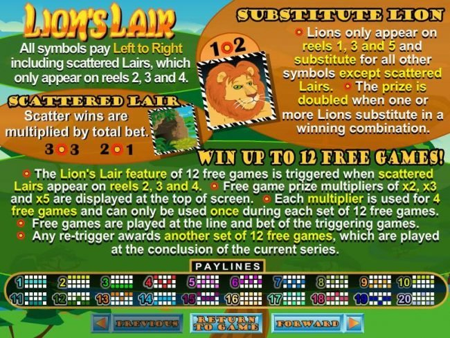 Platinum Reels featuring the video-Slots Lion's Lair with a maximum payout of $12,500