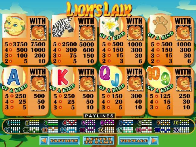 All Star Slots featuring the video-Slots Lion's Lair with a maximum payout of $12,500