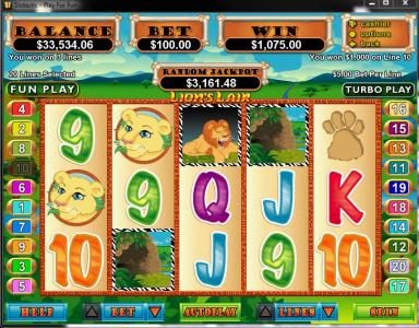 Royal Ace featuring the video-Slots Lion's Lair with a maximum payout of $12,500