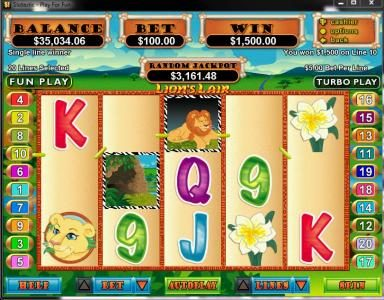 Vegas Casino Online featuring the video-Slots Lion's Lair with a maximum payout of $12,500