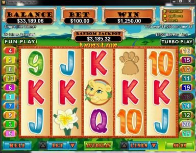 Play slots at Fair Go: Fair Go featuring the video-Slots Lion's Lair with a maximum payout of $12,500