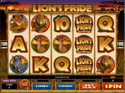 Play slots at Grand Mondial: Grand Mondial featuring the Video Slots Lion's Pride with a maximum payout of $125