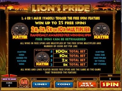 Zodiac featuring the Video Slots Lion's Pride with a maximum payout of $125