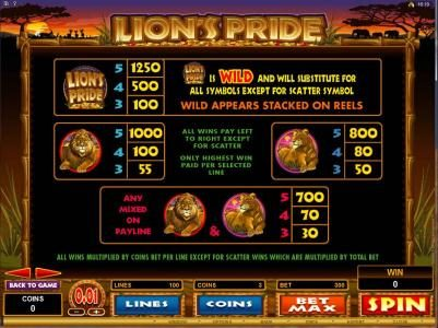 Rose Slots featuring the Video Slots Lion's Pride with a maximum payout of $125