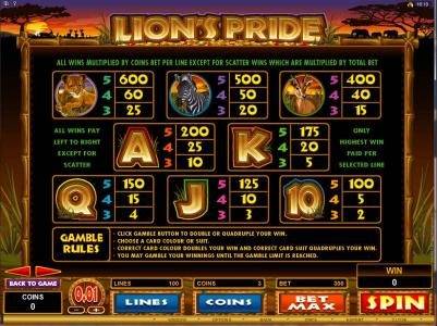 Stan James featuring the Video Slots Lion's Pride with a maximum payout of $125