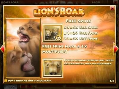 Play slots at Vanguard: Vanguard featuring the Video Slots Lion's Roar with a maximum payout of $7,500