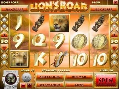 Mayan Fortune featuring the Video Slots Lion's Roar with a maximum payout of $7,500
