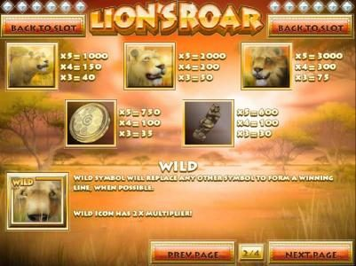 Euro Fortune featuring the Video Slots Lion's Roar with a maximum payout of $7,500