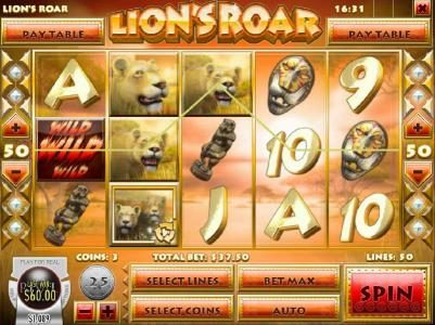 Bodog featuring the Video Slots Lion's Roar with a maximum payout of $7,500