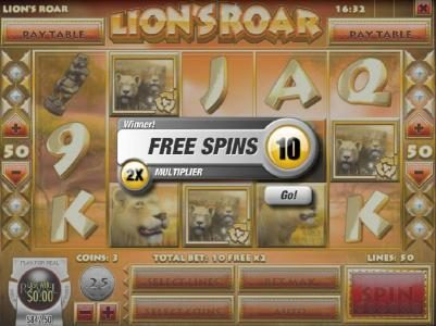 Lion's Roar :: Three scatter symbols triggers free spin feature.