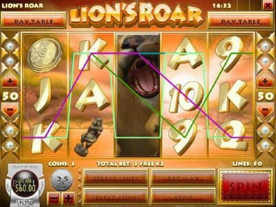 Vegas Regal featuring the Video Slots Lion's Roar with a maximum payout of $7,500