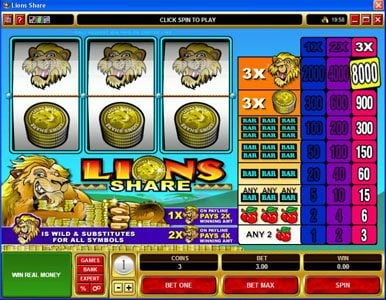 Vegas Slot featuring the Video Slots Lions Share with a maximum payout of $120,000