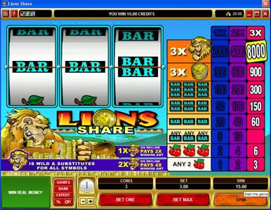 EypoBet featuring the Video Slots Lions Share with a maximum payout of $120,000