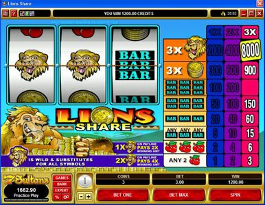 Queen Vegas featuring the Video Slots Lions Share with a maximum payout of $120,000