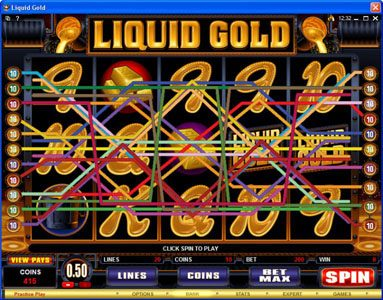 Golden Reef featuring the Video Slots Liquid Gold with a maximum payout of $500,000