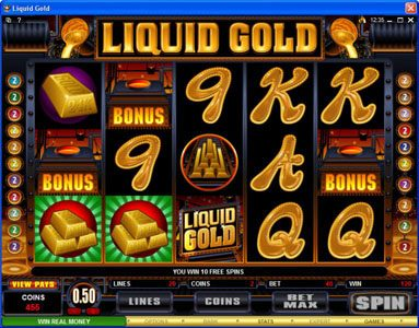 Grand Hotel featuring the Video Slots Liquid Gold with a maximum payout of $500,000