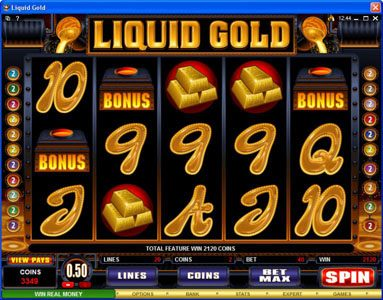 Casino Kingdom featuring the Video Slots Liquid Gold with a maximum payout of $500,000