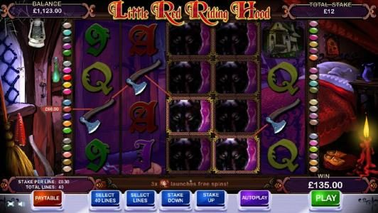 Little Red Riding Hood :: multiple winning paylines triggers a $135 jackpot
