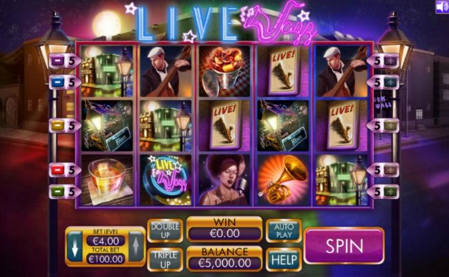 Play Hippo featuring the Video Slots Live Jazz with a maximum payout of $4,000