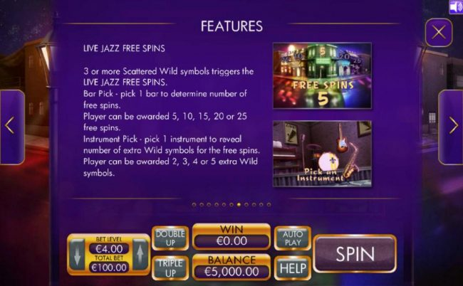 3 or more scattered wild symbols triggers the Live Jazz Free Spins.