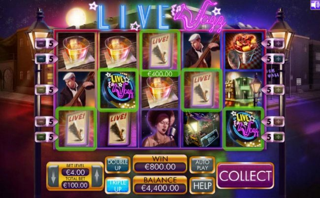 Chanz featuring the Video Slots Live Jazz with a maximum payout of $4,000