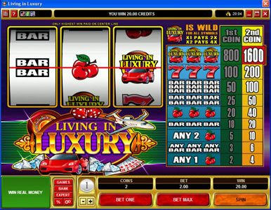 Zodiac featuring the Video Slots Living in Luxury with a maximum payout of $8,000
