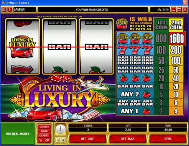 Play slots at Wixstars: Wixstars featuring the Video Slots Living in Luxury with a maximum payout of $8,000