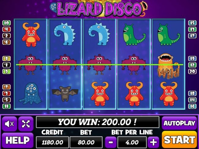 Venetian featuring the Video Slots Lizard Disco with a maximum payout of $24,000