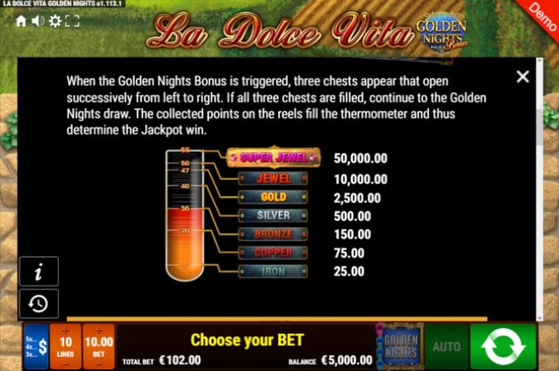 La Dolce Vita Golden Nights Bonus :: Jackpot Rules