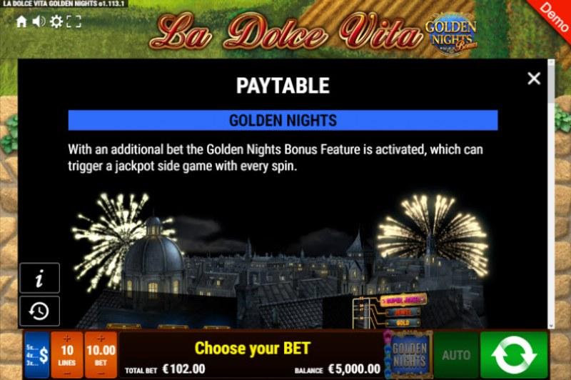 La Dolce Vita Golden Nights Bonus :: Bonus Game Rules