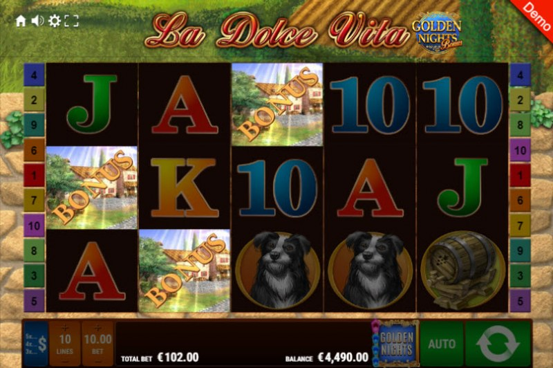 La Dolce Vita Golden Nights Bonus :: Scatter symbols triggers the free spins feature