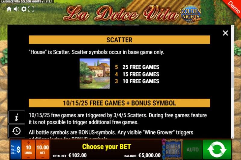 La Dolce Vita Golden Nights Bonus :: Scatter Symbol Rules