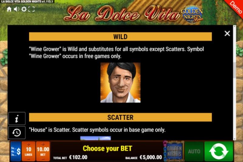 La Dolce Vita Golden Nights Bonus :: Wild Symbols Rules