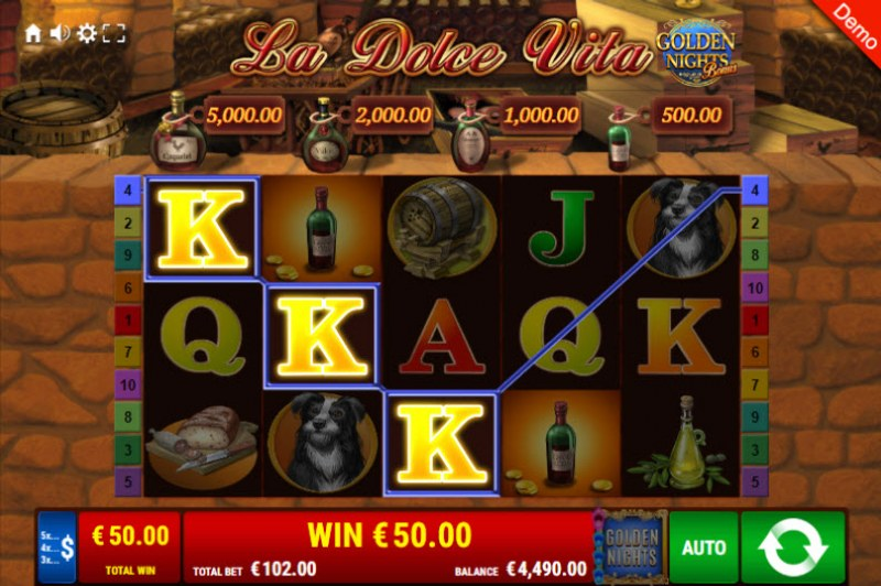 La Dolce Vita Golden Nights Bonus :: Free Spins Game Board