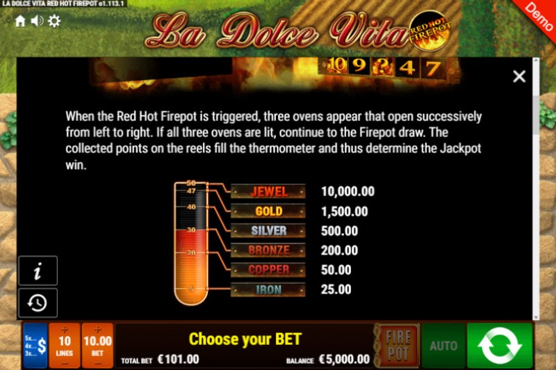 La Dolce Vita Red Hot Fire Pot :: Bonus Game Rules