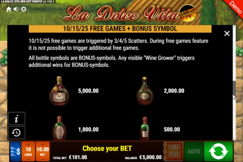 La Dolce Vita Red Hot Fire Pot :: Free Spins Rules