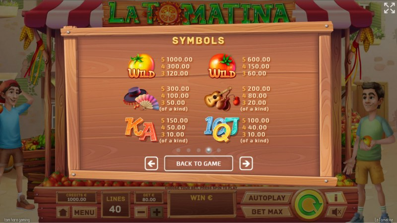 La Tomatina :: Paytable