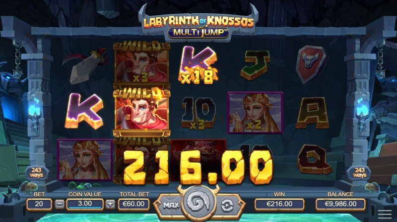 Labyrinth of Knossos :: A three of a kind win