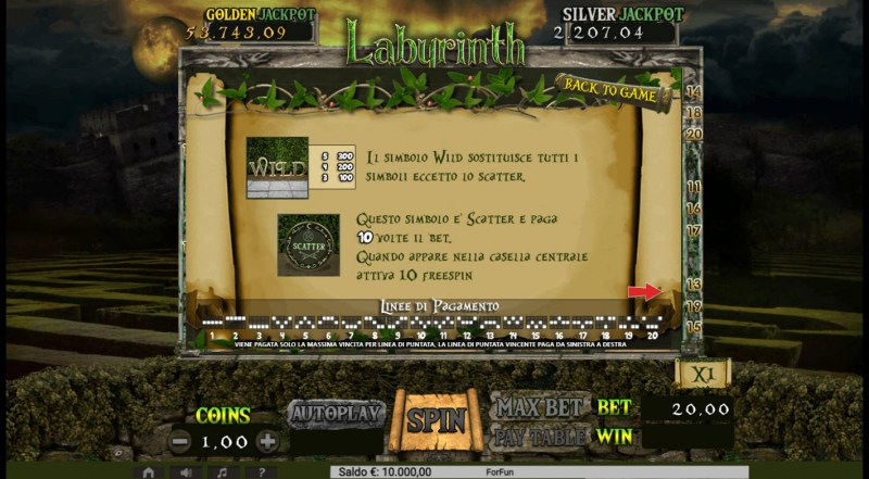 Labyrinth :: Wild and Scatter Rules
