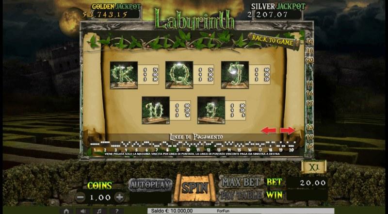 Labyrinth :: Paytable - Low Value Symbols