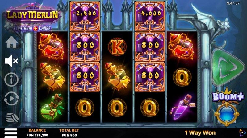 Lady Merlin Lightning Chase :: Six or more money symbols triggers respin feature
