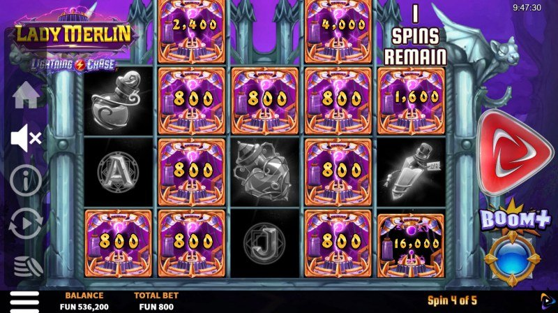 Lady Merlin Lightning Chase :: Spin the reels and land as money symbols to win big
