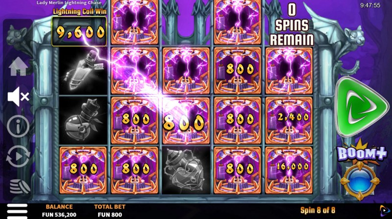 Lady Merlin Lightning Chase :: Collect cash values at the end of the respins