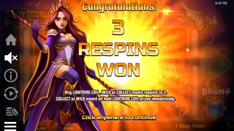 Lady Merlin Lightning Chase :: 3 respins won